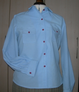 handmade skirt and red button shirt 005